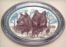 Belt Buckle Barlow Photo Reproduction in Color Wolves Portrait Silver 592686c