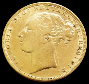1880 GOLD GREAT BRITAIN SOVEREIGN YOUNGHEAD DRAGON SLAYER GEORGE   SCRATCH