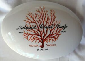 "Natural Coal Soap Dish 6"" Victor Vaissier Ceramic, euc, off-white with red/orang"