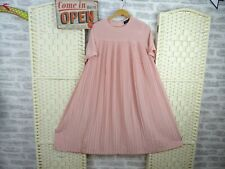 vintage Japanese pleated tea dress poly blush pink full floaty lined S/M D132