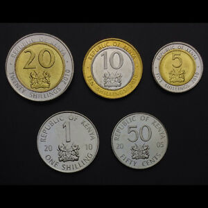 K-1] Kenya Set 5 Coins, 50 Cents 1+5+10+20 Shillings, 2005-2010, UNC
