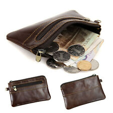 Men's Women's Coffee Genuine Leather Coin Purse Zipper Around Wallet Card Holder