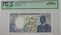 1985 Central African Republic 1000 Francs Note SCWPM# 15 PCGS 65 PPQ Gem New