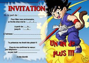 5 ou 12 cartes invitation anniversaire dragon ball REF 398
