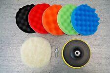 Polierscheiben Set Schaumstoff Microfaser Polierschwamm Klett 150mm Polier 7 tlg