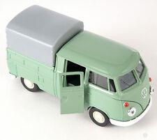 Livraison rapide vw t1 double CABIN pick up vert green welly modèle auto 1:34 Nouveau H