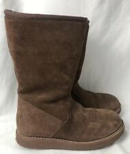 Uggs Women's Size 5 Tall Boots Suede Brown Side Zipper