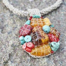 Natural Baltic Amber Necklace Turquoise Coral Handmade Nautical Rustic Crochet
