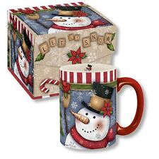 Carson Homes Coffee Mug Cup 14 oz Ceramic in Decorative Box Let It Snow Snowman