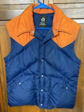 Alpine Designs Men M Quilted Down Puffer Vest Button Up Blue Orange USA Made