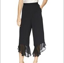 NWT BCBGeneration Black Cropped Flowy Ruffle Gaucho Pants XS