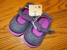 Surprize by Stride Rite Petula sz 2 Navy & plum infant Mary Jane shoes NEW