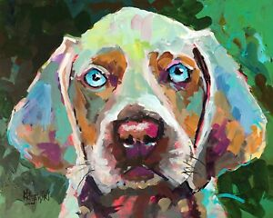 Weimaraner Art Print from Painting | Gifts, Poster, Home Decor, Picture 8x10