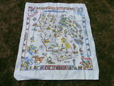 Vintage  Very Detailed 1950 Cloth California Table Cloth in excellent Condition