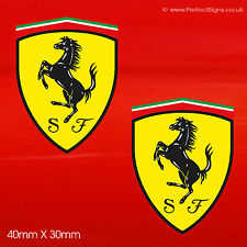 4 X FERRARI Sheild Stickers Car/Van/Bike Small Decals Logo Self Adhesive 2 Pairs
