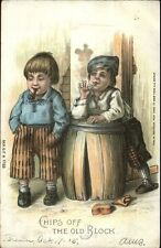 Chips Off The Old Block - Boys Smoking Pipe & Cigarette c1910 Postcard