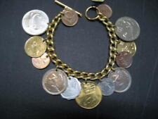 "New Metal Coin Bracelet 6""L ""T"" lock clasp w/warranty"