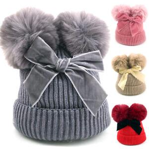 Newborn Baby Girl Cute Bow Winter Double Fur Pom Bobble Knit Warm Beanie Hat Cap
