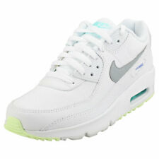 Nike Air Max 90 Gs Womens White Grey Leather & Textile Fashion Trainers