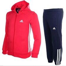 Adidas Jogginganzug Kinder Sweatjacke -Hose Hoodie Trainingsanzug Suit rot-blau