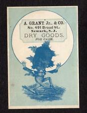 NEWARK NEW JERSEY*A GRANT JR & CO*DRY GOODS FOR CASH*VICTORIAN TRADE CARD*VTC