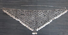Metal Coin Fringe Belly Dance BELT ATS Tribal Vintage Silver Waist Chain Jewelry