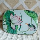 Antique Chinese Shard Box with pink lotus and bird ceramic lid, Silver plate box