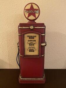 """Wood RETRO GAS PUMP CD Storage Cabinet -Red- Hinged Door 24""""x9"""" Decor Garage"""
