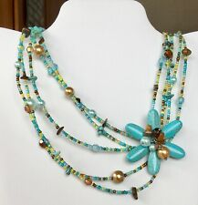 Asymmetrical Flower Necklace Turquoise Blue Brown Gold Beads