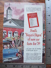 Original 1959 59 Ford Buyers Digest Of New Car Facts for 59 Sales Brochure Guide