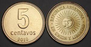 2010 Argentina 5 Centavos Coin BU Very Nice  KM# 109b