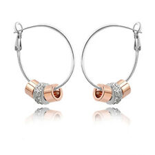 Rose Gold White Gold Plated Crystal Charm Rings Round Hoop Earring XE80