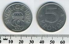 Sweden 1982 - 5 Kronor Copper-Nickel Coin -Crowned monogram King Carl XVI Gustaf