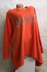 ITALY 🖤 Long Shirt Kleid T-Shirt Tunika Stern Queen Strass Gr.44 46 48 50 52
