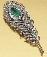 Emerald 925 Sterling Silver Brooch For Women Art Deco 3.30 Ctw Rose Cut Diamond