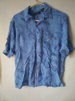 Puritan Blue Short Sleeve Button Front bamboo Print Hawaiian Shirt Mens M