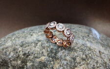 14K Rose Gold Over Wedding Eternity Band 2.25Ct Round Cut Diamond Romantic Gift