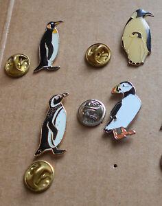 Penguin / Puffin Bird Metal Pin Badge x 4