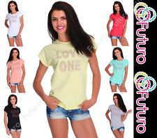 Casual Sequined T-Shirt Love One Print Short Sleeve Party Top Sizes 8-14 FB225