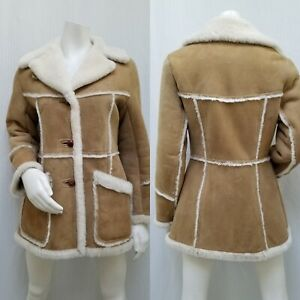 90s Era Vintage Leather and Suede 34 Sleeve Jacket Coat in Women\u2019s Estimated One Size Free Size with a 42\u201d waist