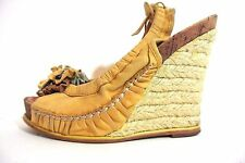 Miss Sixty Espadrille wedges yellow Leather women's Shoes sz 7.5M *1008