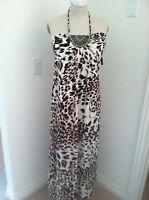 NEW Women's Leopard Print Halter Dress Maxi Sundress Size M Evening Party Dress