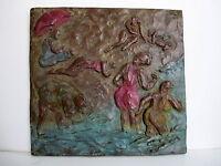 "Bronze  Lost Wax Cast Relief Sculpture ""Summer Beach Scene"""