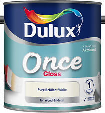 Dulux Once Gloss - Pure Brilliant White - 2.5L For Wood & Metal