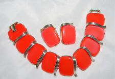 Vintage Lisner Bright Orange Thermoset Lucite Bracelet & Clip Earrings Set Sz 7
