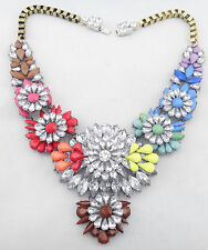 New Design Women Rainbow Crystal Clavicle Chain Bib Statement necklace Collar