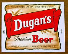 Haffenreffer Brewing Co DUGAN'S PREMIUM BEER  label RI 16oz