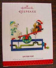NIB 2013 HALLMARK ORNAMENT UP FOR FUN TURN CRANK TO SEE SEESAW GO UP & DOWN NEW