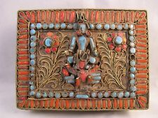 Antique Tibetan turquoise and carnelian Goddess Tara filigree box Nepal Hindu
