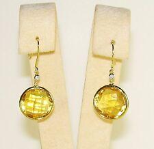 18K YELLOW GOLD CITRINE & DIAMOND EARRINGS